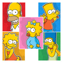 Oriental Furniture - The Simpsons Family Wall Art - Set of Five - Can't choose your favorite Simpson? Get all 5 authorized limited edition, giclee style ink jet prints of the Simpsons, from Fox's internationally acclaimed, hilariously irreverent cartoon comedy series. Professionally reproduced from original cartoonist's renderings on art quality canvas. It's the ultimate collector's decor for devoted Simpsons' viewers.