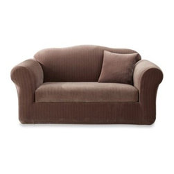 Sure Fit - Sure Fit Stretch Pinstripe 2-Piece Sofa Slipcover - With its subtle pinstripe pattern and fresh color, this luxurious 2-piece sofa slipcover creates balance and adds texture to any room while showcasing your furniture with a smooth, form-fitting look.