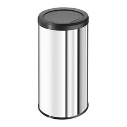 Hailo - Hailo 45-liter Big Bin Swing Trash Can - This attractive,moderately sized stainless steel trash receptacle is offered in four different shiny colors. It has a slim profile for easy room placement,a magnetic self-closing lid and a broad plastic base ring that helps prevent tipping and sliding.