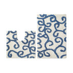 None - Celebration 'New Scroll' Bath and Contour Rug 2-piece Set - A plush contrasting scroll pattern highlights this two-piece bath rug set. Constructed of soft cotton, this dimensional set is highly absorbent.
