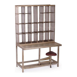 Metal French Postal Sorting Desk - This modern industrial style twist on an antique postal sorting desk uses zinc coated distressed steel construction. The perforated sheet metal cubbies keep everything neat and tidy while the leather topped attached seat swings out on a single caster wheel.