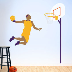 My Wonderful Walls - Basketball Wall Mural Stencil Kit for Painting - - 2 basketball stencils