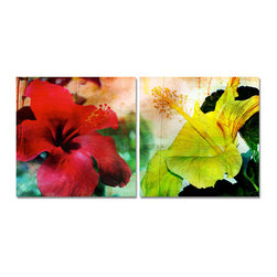READY2HANGART.COM - Ready2hangart Alexis Bueno Tropical Hibiscus (2-PC) Canvas Wall Art Set - This Tropical Hibiscus was inspired by the Caribbean Island of Antigua; full of vibrant color and natural beauty. The tropical hibiscus floral art is offered as a 2-PC Canvas Art Set. It is fully finished, arriving ready to hang at your home or office.