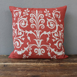scroll red pillow - view this item on our website for more information + purchasing availability: http://redinfred.com/shop/category/free-shipping/scroll-red-pillow/