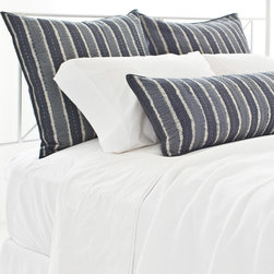 Pine Cone Hill - PCH Resist Stripe Gray Pillow Sham - Inspired by an artistic block print, the Resist Stripe pillow sham lends a touch of global glamour. This quilted PCH bedding boasts the chic yet casual style in white, ash gray and charcoal. Available in euro; 100% cotton; Charcoal gray cording; Tie closure; Designed by Pine Cone Hill, an Annie Selke company; Machine wash