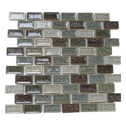 """GL Stone - Multi Color Brick Pattern Mosaic Tile, Blue Mix Brown Mix Green, 1 Carton - Glossy porcelain mosaic tile is one of the most popular tile for the interior wall and floors. This beautiful combination color of blue, brown and green polished finished creates a sleek and attractive design to any room. The mesh backing not only simplifies installation, it also allows the tiles to be separated which adds to their design flexibility. These tiles will give a luminescent quality to any kitchen or any decorated spot in any room. Each sheet measures 12""""x 12""""( 1 sq. ft.) This mosaic tile is great for shower surround, bathroom floor, kitchen backsplash, or wall feature."""