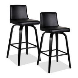 """Leick - Upholstered Counter Stool (Set of 2) - Bent plywood legs offer a broad, sturdy base on these edgy black over black counter stools. The seat and back are padded for comfort and upholstered in an Ebony faux leather. Features: -Black over Black finish. -Material: Solid hardwood. -Seat and back upholstered: Ebony pebble textured faux leather. -1 Year warranty. Dimensions: -24-in.: 33"""" H x 15"""" W x 18"""" D, 22 lbs. -30-in.: 39"""" H x 15"""" W x 18"""" D, 22 lbs."""