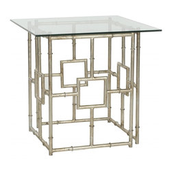Safavieh - Dermot Accent Table - Crafted for a new generation of sophisticates, the Dermot Accent Table balances a contemporary glass top with classic Chinoiserie faux bamboo in silver-leafed forged iron for a dramatic moment of modern magic.
