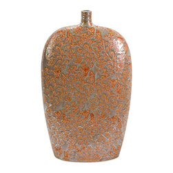 iMax - Adalie Coral Vase - Feminine and sleek, the neutral background of the Adalie vase is patterned in coral colored leafy vines. A beautiful piece for a mantle or accent table.
