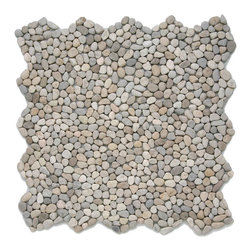 "Glass Tile Oasis - Playa Beige Pebbles & Stones Cream/Beige Kitchen Tumbled Natural Stone - Sheet size:  12"" x 12""        Tile Size:  .50"" - 1""        Tile thickness:  1/4""        Sheet Mount:  Mesh Backed        Stone tiles have natural variations therefore color may vary between sheets.    Sold by the sheet    -  Micro Pebbles are the newest introduction to our wide assortment of decorative pebble mosaics. Small  flatter individual pebbles create a comfortable surface underfoot-perfect as a field tile or an organic accent. With a mesh mounted backing and interlocking edges  these mosaics are easy to install and suitable for a variety of indoor and outdoor applications."