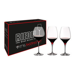 Riedel - Riedel Vitis Red Wine Tasting Glasses - Set of 3 - Hold your own redwine tasting! This set contains one of each of: Vitis Pinot Noir (0403/07) Vitis Syrah/Shiraz (0403/30) Vitis Cabernet (0403/0). Lead crystal, machine blown.