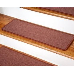 """Dean Flooring Company - Dean DIY Peel and Stick Non-Skid Carpet Stair Treads - Terra Cotta (13) 27""""x9"""" - Dean DIY Peel and Stick Serged Non-Skid Carpet Stair Treads - Terra Cotta (13) 27"""" x 9"""" Runner Rugs : Non-skid Peel and Stick DIY Carpet Stair Treads by Dean Flooring Company. Extend the life of your high traffic hardwood stairs. Reduce slips/increase traction. Cut down on track-in dirt. Reduce noise. Add a fresh new look to your staircase. Helps you and your dog easily navigate your slippery hardwood stairs. 100% Polypropylene. Set includes 13 peel and stick carpet stair treads easy, do-it-yourself installation. Our all new exclusive adhesive peel and stick strips (not double-sided tape) make do-it yourself installation a breeze. Adhesive will NOT damage your hardwood flooring. Easy to remove if you later decide to remove your carpet stair treads. Adhesive strips come pre-applied. No additional installation products needed. You choose the size from the drop down list. Each tread is finished with attractive color matchng yarn. Rounded corners. This product is manufactured and sold exclusively by Dean Flooring Company. Add a touch of warmth and style to your stairs today with new stair treads from Dean Flooring Company!"""