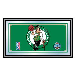 Trademark Global - Boston Celtics NBA Framed Logo Mirror - Officially Licensed Full Color Artwork. Mirrored Glass Accents Team Logo. 1.25 Inch Black Wrapped Wood Frame. Includes Mounted Saw Tooth Hanger. Measures .75 (D) x 27 (W) x 15 (H) InchesReflect on the favorite memories of your favorite team with this officially licensed framed logo mirror. Authentic artwork is preserved under mirrored glass then bound by a black wrapped wood frame.  Post up your passion for the game while assisting your room's appearance with this professional grade logo mirror.