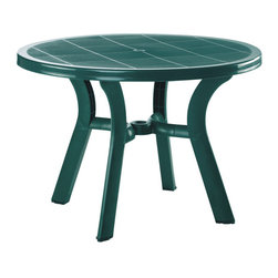 "Compamia - Truva Resin Round Dining Table 42 inch Green - Truva round dining table. Marine grade resin. Resistant to suntan oils, chlorine and saltwater. Table has an umbrella hole for standard umbrellas and cap. Bottom piece is 14 inches high above the gorund for easy use with high umbrella bases.; Made from commercial grade resin with gas injection molded legs, with non-skid rubber caps.; Extremely durable for outdoor temperatures.; Beautiful U.V. Resistant, Satin Finish. Easy to keep clean.; Perfect for heavy use indoor / outdoor areas.; Residential Use - 2 Years Limited Warranty. Commercial Use - 1 Year Limited Warranty; Easy NO TOOL Assembly Required; Country of Origin: Turkey; Dimensions: 42""D x 29""H. Umbrella hole good for 1.5""diameter poles. Bottom piece is 14""high above the ground"