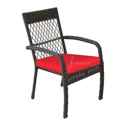 Forever Patio - Santa Monica Outdoor Wicker Dining Chair, Ruby Cushions - A thick weave of High-Density Polyethylene (HDPE) resin wicker gives the Forever Patio Santa Monica Outdoor Patio Dining Chair with Red Outdoor Cushions (SKU FP-SM-DC-CP) an elegant presence in any outdoor space. The wicker is infused throughout each strand with a rich Cappuccino finish with UV inhibitors that prevent it from fading or cracking in regular sun exposure. These outdoor dining chairs are supported by thick-gauged, powder-coated aluminum frames that make them more durable than natural rattan. The chairs include fade- and mildew-resistant Sunbrella® cushions, adding comfort to your outdoor space.