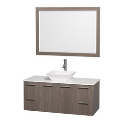 Wyndham Collection - 21.75 in. Contemporary Wall Mounted Vanity with Mirror - Includes drain assemblies and P-traps for easy assembly. Faucet not included. Modern clean lines. Eight stage preparation. Veneering and finishing process. Highly water resistant low V.O.C. sealed finish. Unique and striking contemporary design. Deep doweled drawers. Fully extending soft close drawer slides. Soft close door hinges. Single hole faucet mount. Two functional doors. Four functional drawers. Plenty of storage space. White man made stone top. White porcelain sink. Engineered for durability and to prevent warping and last for lifetime. 0.75 in. thickness mirror. Made from highest quality grade E1 MDF. Metal exterior hardware with brushed chrome finish. Grey finish. Minimal assembly required. Mirror: 46 in. W x 33 in. H. Vanity: 48 in. W x 21.75 in. D x 20.25 in. H. Care Instructions. Assembly Instructions - Sink. Assembly Instructions - MirrorTruly elegant design aesthetic meet affordability in the Wyndham Collection Amare Vanity. The attention to detail on this elegant contemporary vanity is unrivalled.