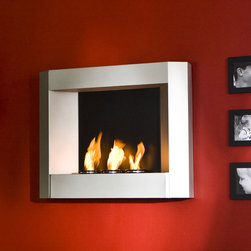 Living Rooms - Enliven any space with this wall mount gel fuel fireplace. This piece is small enough to go anywhere and can be hung as easily as a picture. The modern crisp lines of this fireplace stand out against any wall making it a definite eye catcher. Finished with a light silver matte texture, the finish is designed to fit well with contemporary, modern, and transitional styling. http://furnishamerica.com