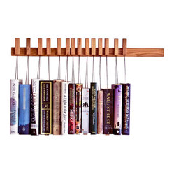 ecofirstart.com - Oak Wooden Bookrack - Don't just shelve your books, really display them with this unique solid oak rack. The innovative pins holding each tome are detachable and the strings are adjustable, so you can play with the order depending on book size, title, author or anything else to craft your organizational happy ending.