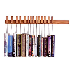 EcoFirstArt - Oak Wooden Book Rack - Don't just shelve your books, really display them with this unique solid oak rack. The innovative pins holding each tome are detachable and the strings are adjustable, so you can play with the order depending on book size, title, author or anything else to craft your organizational happy ending.