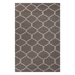 Jaipur Rugs - Jaipur Rugs Flat-Weave Moroccan Pattern Wool Gray/Ivory Area Rug, 2 x 3ft - An array of simple flat weave designs in 100% wool - from simple modern geometrics to stripes and Ikats. Colors look modern and fresh and very contemporary.