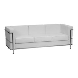 Flash Furniture - Flash Furniture Accent Chair X-GG-HW-AFOS-3-018-LAGER-BZ - This attractive white leather reception sofa will complete your upscale reception area. The design of this sofa allows it to adapt in a multitude of environments with its smooth upholstery and visible accent stainless steel frame. [ZB-REGAL-810-3-SOFA-WH-GG]