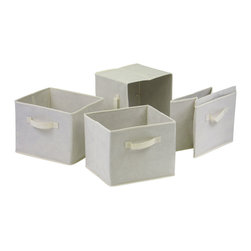 Winsome - Capri Set of 4 Foldable Beige Fabric Baskets - Set of 4 Foldable beige fabric containers. Use the large size as a magazine holder, file holder, art project holder. The next 3 sizes are great for decorative storage and organization: washcloths in the bathroom, note pads at work, personal items in chest of drawers. When not in use, they fold for easy storage. Easy to assemble