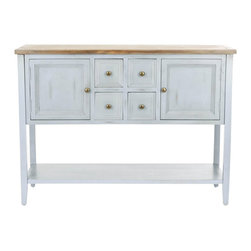 """Safavieh - Safavieh Lola Elm Wood Sideboard in Off White - Safavieh - Buffet Tables & Sideboards - AMH6517B - This antique inspired Lola sideboard is sure to give any decor a classic feel. With many spacious drawers and doors the Lola sideboard combines style and function. It is crafted from elm wood and finished in crisp white. This is an essential piece for any living space. The drawers measure 5.9""""L X 14"""" D X 5.7"""" H and the cabinet drawer measures 12.5"""" X 14"""" D X 10"""" H. Assembly required."""