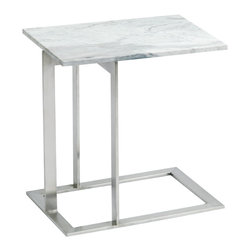 "Nuevo Living - Dell Side Table in White Brown Marble by Nuevo - HGTA377 - The Dell side table in white brown marble features a brushed stainless steel frame and a  3/4"" marble top."