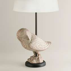 World Market - Snow Owl Table Lamp Base - Our adorable Snow Owl Table Lamp Base is crafted of hand-casted aluminum with a distressed white finish that gives it an extra charming antique look. The perfect size for an end table, buffet or nightstand, this affordable lamp base coordinates with our wide selection of table lamp shades, so you can create the perfect ensemble to fit your style, space and budget.