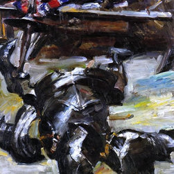 """Lovis Corinth Armour in the Studio - 16"""" x 20"""" Premium Archival Print - 16"""" x 20"""" Lovis Corinth Armour in the Studio premium archival print reproduced to meet museum quality standards. Our museum quality archival prints are produced using high-precision print technology for a more accurate reproduction printed on high quality, heavyweight matte presentation paper with fade-resistant, archival inks. Our progressive business model allows us to offer works of art to you at the best wholesale pricing, significantly less than art gallery prices, affordable to all. This line of artwork is produced with extra white border space (if you choose to have it framed, for your framer to work with to frame properly or utilize a larger mat and/or frame).  We present a comprehensive collection of exceptional art reproductions byLovis Corinth."""