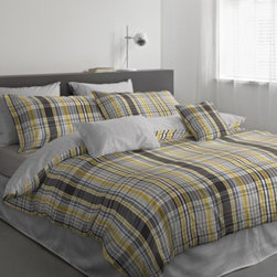 Famous Home Fashion, Inc. - Matz Comforter Set - Modishly dress your bed and create a sophisticated look in any room with the Matz Comforter Set. Embossed with a plaid pattern in bright yellow and muted grey tones, the bedding offers chic look to your bedroom decor.