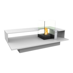 Decorpro - Level Indoor Bio Ethanol Coffee Table Fireburner In White - * Relax in luxury and enjoy the glow and warmth of the Decorpro LEVEL Coffee Table. This coffee table allows you to enjoy a crackling fire in the privacy of your own home. The LEVEL Coffee Table is perfect for any room. Its the perfect way to entertain in style. Designed as a three in one furniture piece it has a variety of options on how it can be utilized. As a fireplace using Organica BioFire Safety Fuel or Sunjel firepot fuel cans create a warm beautiful flame. For a different kind of ambiance fill the unit up with pillar candles. You can also transform the burner unit into a terrarium that can be filled with your favourite plants. The options are endless.