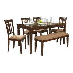Homelegance - Homelegance Devlin 6 Piece Rectangular Dining Room Set in Espresso - The Devlin Collection offers the classic look of transitional styling with a nod to the Arts & Craft movement all in a well appointed 6 piece group. Neutral tone fabric covers the seats of the chairs and bench in the espresso finished collection. Notch accent completes the look of the collection.