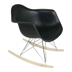 Molded Plastic Rocker, Black - Glide.rock.sing or sack out. How many gliders have you seen in friend's room. This high-quality reproduction of rocking chair (also called cradle chair) is something that can be with your family for years to come, perfectly suited to any room of your home. The oringinal rocker is make of fiberglass and steel, but this modern rocker is crafted with recycled polyprolene shell over a very supportive chromed steel base support. This molded shell has a deep seat pocket, integrated armrests and a high backrest. The waterfall seat edge promotes comfortable seating for extended periods of time by reducing pressure on the backs of thighs.