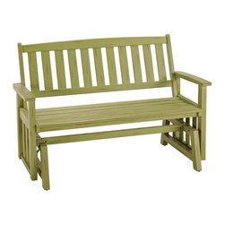 HomeStyles - Bali Hai Outdoor Glider Bench Limeade Finish - Eco-friendly, plantation grown Shorea wood. Contoured seat. traditional slat design. Stainless steel hardware. Dimensions: 54.25 in. W X  28 in. D X  35.75 in. HCreate an island oasis on your porch or patio with a Home Styles Bali Hai Outdoor Glider Bench.  Showcasing an island inspired design in a versatile limeade finish with rubbed aged look and construction of eco-friendly, plantation grown Shorea wood which is known for its exceptional durability and natural resistance to water, this bench is designed to provide endless hours of outdoor entertainment use.  Curved back and contoured seat provides excellent support and imparts a slightly modern touch to the overall traditional slat design.  Beautifully built with stainless steel hardware. Seat height measures 17.75 inches high. Size: 54.25w 28d 35.75h.
