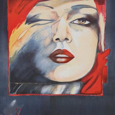 Helene Guetary, Self Portrait, Lithograph - Artist:  Helene Guetary, French/American (1957 - )