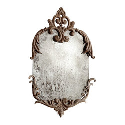 Findabair Mirror - A precious fragment salvaged from a turn-of-the-century manor, or an assemblage of found objects showing their separate patterns of wear? The soft-cornered, rectangular Findabair Mirror is a weathered fantasy: deeply antiqued and lightly held in the curves of iron leaf brackets which are heavy with rust, but delicate and extended in their proportions.