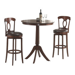 Hillsdale Furniture - Hillsdale Plainview 3-Piece Pub Table Set with Corsica Barstools - The Corsica bistro set, in a brown finish, features 360 degree swivel barstools with dark brown faux leather seats, cozy French country design elements and simple, tapered and slightly flared legs. The bar height table compliments the barstools with a slender pedestal base, flared legs, and a round top with a generous apron. Composed of hardwoods and climate controlled wood composites, minor assembly required.