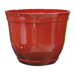 Alpine Fountains - Medium 12 in. Bowl Planter in Red - Made of Plastic. 1 Year Limited Warranty. Assembly Required. Overall Dimensions: 12 in. L x 12 in. W x 10 in. H (1.32 lbs)These bowl planters are perfect for patios and decks.  Available in a variety of sizes and colors they can meet any need, or taste and are very durable.