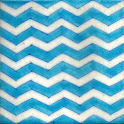 """Knobco - Tiles 6x6"""", Turquoise and White Zigzag - Turquoise and White Zigzag Tile from Jaipur, India. Unique, hand  painted tiles for your kitchen or   other tiling project. Tile is """"6x6"""" in  size."""
