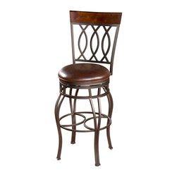 American Heritage - Bella 30 in. Bar Stool in Pepper and Bourbon - Finished in Pepper. Bourbon Leather Cushion. Full-Bearing 360 Degree Swivel. Uniweld Construction. 3 in. Cushion. Adjustable Leg Levelers. Construction Material: Metal. Assembled Base & Seat. 30 in. Seat Height. 1 Year Warranty. Seat Width: 16 inches. Seat Depth: 16 inches. 18 in. W x 20.25 in. D x 45 in. H