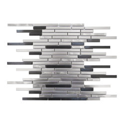 Thin Stainless Brick Mosaic - Silver and Black Sample