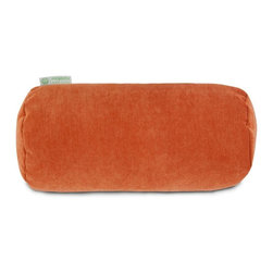 Majestic Home Goods - Villa Round Bolster, Orange - Add a splash of color and a little texture to any room with these plush pillows by Majestic Home Goods. The Majestic Home Goods Villa round bolster pillow will instantly lend a comfortable look to your living room, family room or bedroom. Whether you are using them as decor throw pillows or simply for support, Majestic Home Goods round bolster Pillows are the perfect addition to your home. These throw pillows are woven from 100% polyester Micro-velvet and filled with Super Loft recycled polyester fiber fill for a comfortable but durable look. Spot clean only.