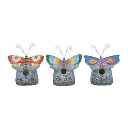 "Benzara - Birdhouse 3 Assorted Crafted with Fine Attention to Detail - Birdhouse 3 Assorted Crafted with Fine Attention To Detail. If you are looking for unique accessories for your outdoor setting, this Birdhouse 3 assorted set is a perfect choice. H. It comes with following dimensions 5""W x 10""D x 11""H."