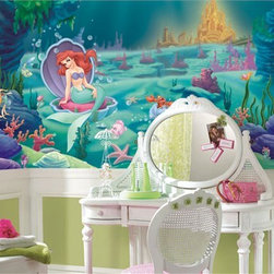 Little Mermaid Chair Rail Prepasted Wall Mural - You can really add to the Disney dream room with a large wall mural like this one in vivid colors.