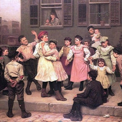 "John George Brown The Sidewalk Dance (A Sidewalk Dance) Print - 16"" x 24"" John George Brown The Sidewalk Dance (also known as A Sidewalk Dance) premium archival print reproduced to meet museum quality standards. Our museum quality archival prints are produced using high-precision print technology for a more accurate reproduction printed on high quality, heavyweight matte presentation paper with fade-resistant, archival inks. Our progressive business model allows us to offer works of art to you at the best wholesale pricing, significantly less than art gallery prices, affordable to all. This line of artwork is produced with extra white border space (if you choose to have it framed, for your framer to work with to frame properly or utilize a larger mat and/or frame).  We present a comprehensive collection of exceptional art reproductions byJohn George Brown."