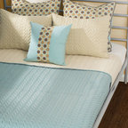 Rizzy Home - Rizzy Home Wave 6 Piece Bedding Set - Combining simple depth and cheerful pattern, the Wave Bedding Set features a wavy-textured stitching, while accenting the look with neutral-toned polka dot designs. Bright and modern, the bedset features warm cream, bright pale blue, soft beige, and rich chocolate tones to complement and enhance the calming bedspread and accent pillows. These features define the contemporary style of the bedding:Wave-stitched design on the comforter and rectangle shams, polka dot design on the euro shams and a stripe down the throw pillowMade from polyesterKing Bedding Set includes: one (1) 78 x 80-inch comforter, three (3) 26 x 26-inch euro shams, two (2) 20 x 36-inch king pillow shams, and one (1) 18 x 18-inch accent pillowQueen Bedding Set includes: one (1) 60 x 80-inch comforter, two (2) 26 x 26-inch euro shams, two (2) 20 x 26-inch standard shams, and one (1) 18 x 18-inch accent pillowPillow sham inserts and bed frame not includedMade in India