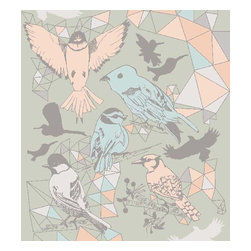 Dana Haim, LLC - Bird is the Word Wallpaper, Avocado - Digitally printed wall coverings inspired by multifaceted crystals and magic. Designed in Brooklyn and printed in California. No VOC's. Sold per square foot. Please allow 2-4 weeks.