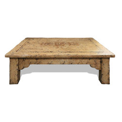 Traditional Old World Coffee Table, Distressed with Espresso and Gold Scrolls - Traditional Old World Coffee Table, Distressed with Espresso and Gold Scrolls