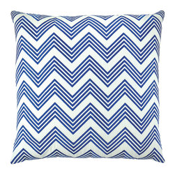 "NECTARmodern - ZigZag (blue) chevron embroidered throw pillow 20"" x 20"" - Crazy about chevron? If so you will love our white linen pillow with blue chevron embroidery.  Solid white back. Designer quality cover with overstuffed feather/down insert."